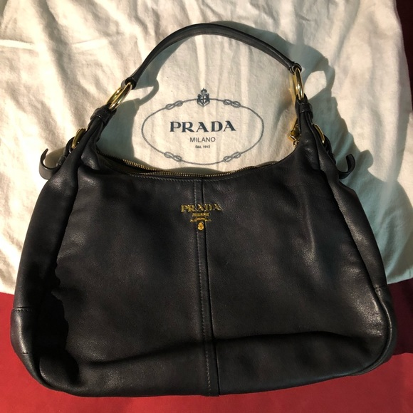 fbd4da89aa27 Prada Bags | Authentic Black Vitello Daino Hoboused | Poshmark